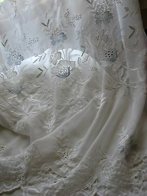 "VTG Pair white LACE CURTAINS FLORAL 59"" W 82"" L V edges hint of blue embroidery"