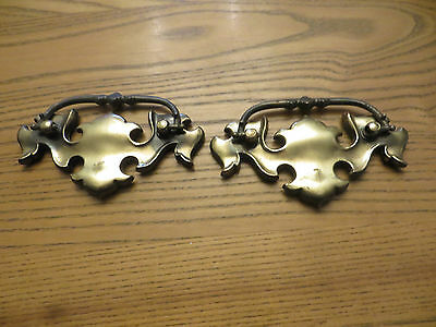 "Vintage Antique Hardware Aged Brass Chippendale Batwing Drawer Pull 3"" Center"