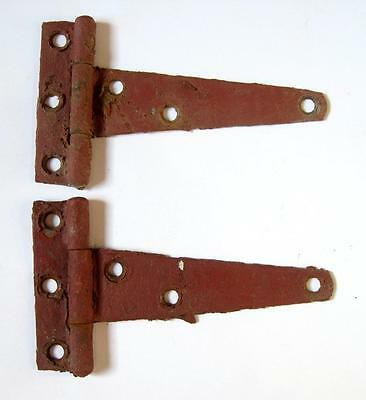 2 Vintage Barn Hinges Red Chippy Paint Farm Hardware Pair Door Chicken House