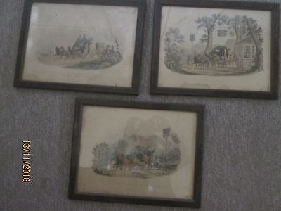 3 x Vintage Coaching Prints -  Early 19th century - Equestrian interest