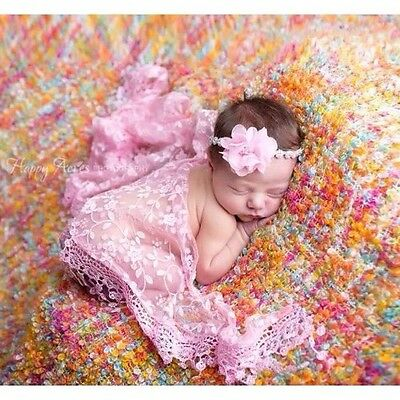 Lace Sheer Floral Baby Newborn Wraps In Pink Photography Photo Prop
