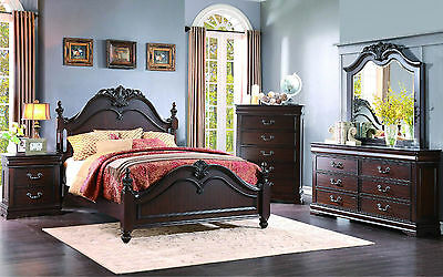 SOLANO - 5pcs Old World Cherry Brown Queen King Poster Bedroom Set Furniture