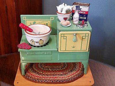 Vtg Toy Kitchen Stove LOADED w/Gingerbread Sweetness - Byers Choice Accessory