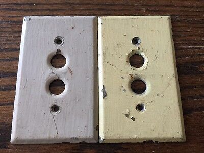 Lot Of 2 Vintage Metal Pushbutton Push Button Light Switch Plate Covers No. 11