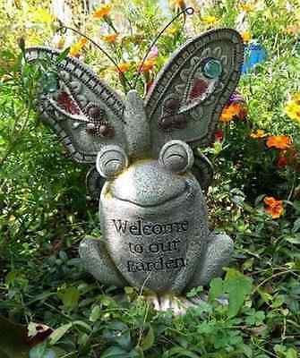 Frog Garden Statue Decoration Butterfly Outdoor Figurine Lawn Patio Backyard