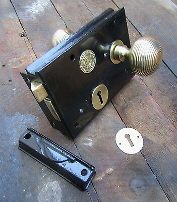 SALVAGED VICTORIAN RIM LOCK with BRASS HANDLE ESCUTCHEON - COLLEDGE  & BRIDGEN