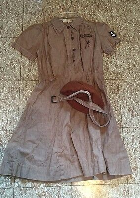 Vintage Girl Scout USA Brownie Dress Uniform OFFICIAL With Beanie