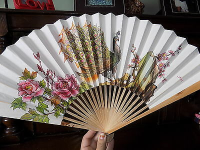 Collectable Large vintage oriental peacock print bamboo  paper  folding hand fan