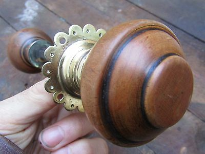 Salvaged Victorian Fruitwood Door Handle & Decorative Back Plate  for a rim lock