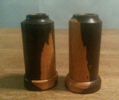 Treen Pair of Two Tone Wooden Candlestick Holders