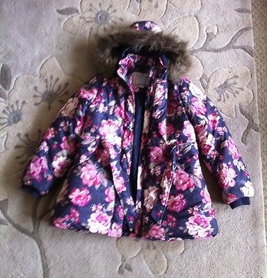 Girls Pretty Monsoon Padded Coat Navy With Pink Roses 11-12Yrs