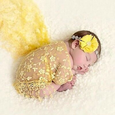 Lace Sheer Floral Tassel Baby Newborn Wraps In Yellow Photography Props