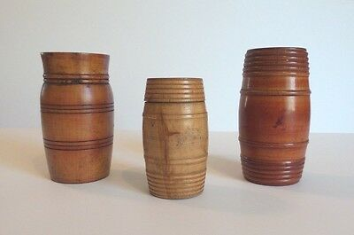 """GROUP/3 19th C. HAND MADE TREEN WARE / WOODEN BARREL BOXES (3.75"""" - 5"""")"""