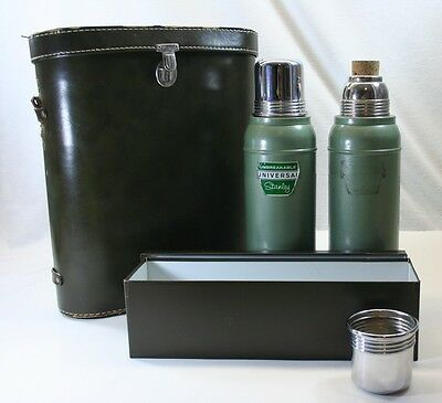 Vintage Universal Stanley Thermos N944 Picnic Lunch Set Leather Case FREE SHIP