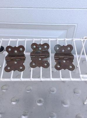 3- Antique Brass Off Set Hoosier Hinges