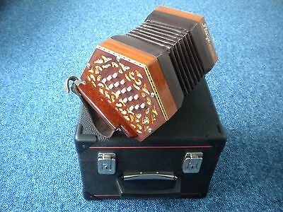 Stagi Anglo Concertina W-15 MS Mahogany 30 button with case