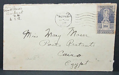 US Cover to Egypt Cairo Three Alexandria Stamps 1927 EF nach Ägypten (I-8642