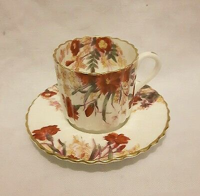 Copelands Fine Porcelain Red Handpainted Floral Coffee Cup/Saucer T.Goode