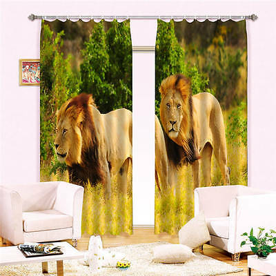 Two Lions Playing 3D Customize Blockout Photo Curtains Print Home Window Decor