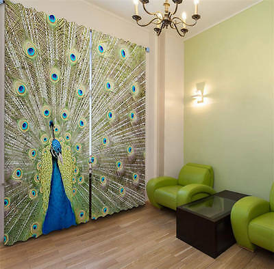 Peacock Open Screen 3D Customize Blockout Photo Curtains Print Home Window Decor