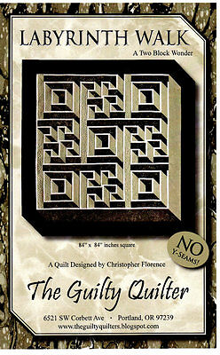 Quilt Pattern~Labyrinth Walk~4 Contrasting Fabrics~No Y seam~3d Effect~In Stock!