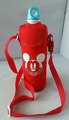 Disney Store Mickey Mouse Water Bottle With Red Neoprene Cover Holder Strap