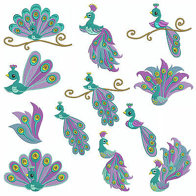 * PEACOCK 1 * Machine Embroidery Patterns * 12 designs x 3 Sizes