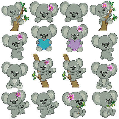 * KOALA 1 * Machine Embroidery  Patterns * 16 Designs in 2 sizes