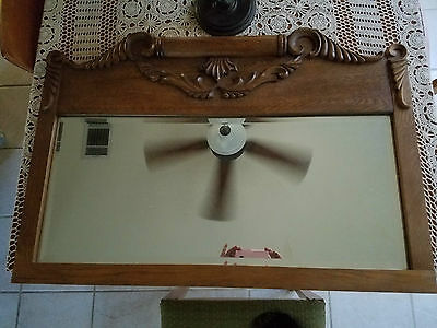 Large Antique Tiger Oak Wall Mirror With Beveled Glass