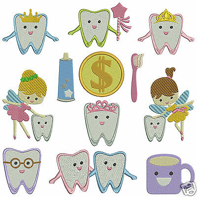 TOOTH FAIRY * Machine Embroidery Pattern CD * 12 designs x 2 sizes