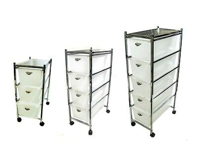 3 / 4 / 5 Drawer SLIM Chrome Plated Home Office Trolley Storage Cart with Wheels