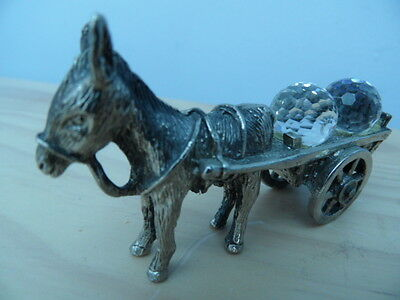 W.A.P.W England Collectable Vintage Metal Donkey Colourful Crystal Spheres