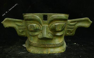 Chinese China Dynasty Old Antique Bronze Copper : Mask armor Statue Sculpture