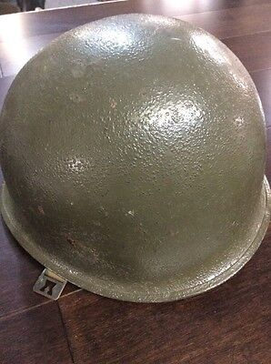 WWII US M1 Helmet With Front Seam And Liner. Marked 911C