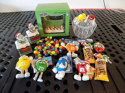 Huge Lot of M&Ms Collectible Ceramic Candy Dish, Ornaments, Tree Decorations