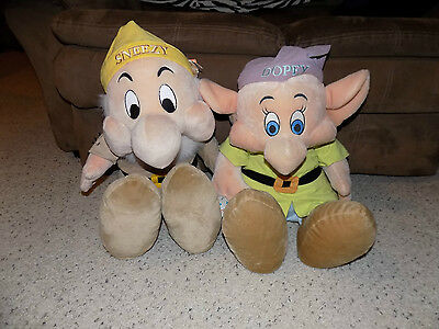2 Disney Snow White & the Seven Dwarfs Large 28 in. Plush Figures Dopey & Sneezy