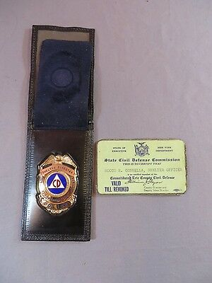 Obsolete 1960's CDC CIVIL DEFENSE SHELTER DIRECTOR Badge + ID Police NY