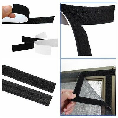 Black 2 Rolls 1M Length Home Necessaries Strong Self Adhesive Sticky Loop Tape
