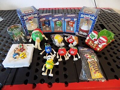 Collectible Lot of M&M's Christmas Ornaments, Bendable Body, Stocking Holder