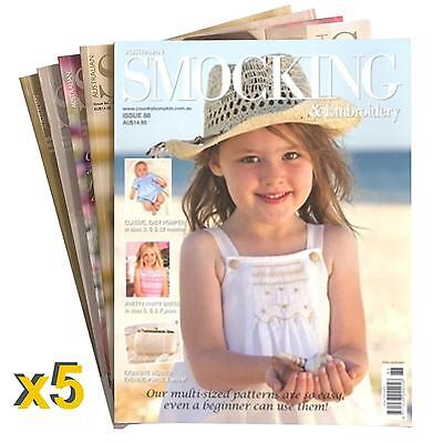 5 Pack #1 of Australian Smocking & Embroidery Magazine Patterns Sewing RRP $90+