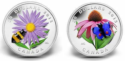 2012-13 Canada $20 Fine Silver Coins - Venetian Glass Bumble Bee and Butterfly