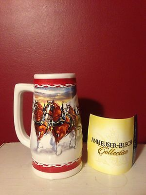 2010 Budweiser Clydesdale Holiday Beer Stein Anheuser Dashing Through The Snow