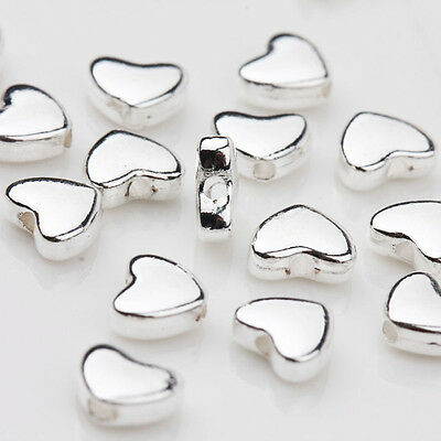30Pcs Tibetan Silver Heart Loose Spacer Bead Charm Jewelry Finding DIY 5x6MM