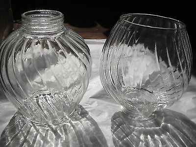 Pair of 2 Clear Glass Swirl Lamp Light Globes Shades Screw On Threaded