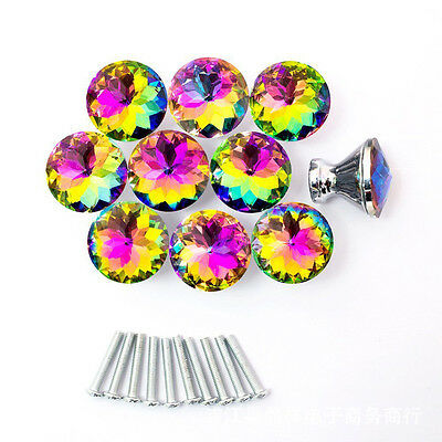30mm 10Pcs Colorful Diamond Crystal Glass Pull Cabinet Drawer Door Knob Handle