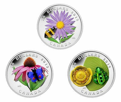 2012-14 Canada $20 Silver Coins Venetian Glass Series Bumblebee Butterfly Frog