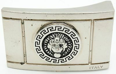 Vintage Gianni Versace Lion Head Logo Style Silver Belt Buckle Italy