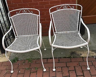 Pair Salterini Style Wrought Iron Arm Chairs Vintage