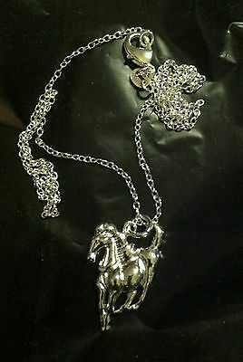 WILD HORSE Pressed SILVER PENDANT with Delicate linked CHOKER chain Gift Idea