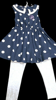 BNWT Next Girls' 2 Piece Navy Blue Dress and White Leggings 3 Years